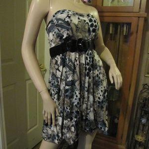 dots Black, Tan & Brown Strapless Dress size XL